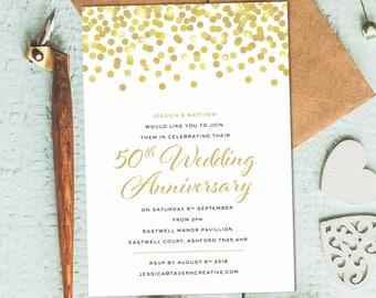 Golden Wedding Invitations, 50th Wedding Anniversary Invites, 50th Anniversary  Invitation, Wedding Anniversary 50th