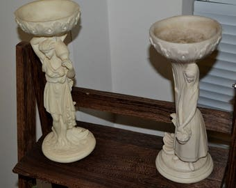 Pair of beautiful vintage alabaster candle holders