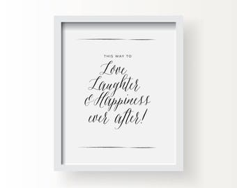 8x10_Black on White Wedding Sign_Love Laughter Happiness