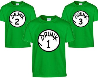 Drunk 1 Drunk 2 T-Shirts St. Patrick's day day shirts, Irish shirt, drunk 1 2 3 4 5