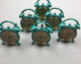 Set of 6 x Bright Duck Egg Distressed Metal Alarm Clock Knobs - Knob Home decor drawer pull