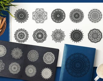 Boho Drawing Mystical Mandala Collection. Vector Indian Art. Yoga Background, Wall Art, Eastern Clipart, Digital Images