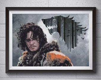 JON SNOW ART from Game of Thrones inspiration House Stark
