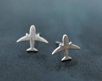 Airplane Earrings, Tiny Silver Airplane Stud Earrings, Cute Earrings