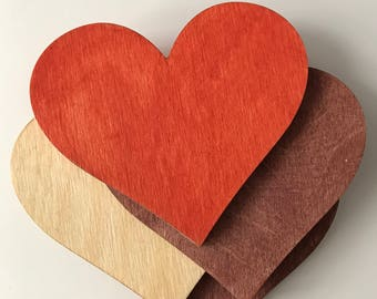 Heart shape wooden cup coasters, set of 4 pallets
