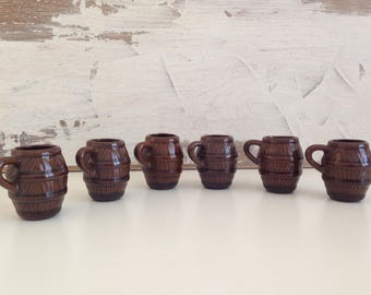 Vintage ceramic shot glasses set - Set of 6 small cups with handles - Bulgarian ceramic Brown 6 cups with - Bulgarian cups - Vintage items