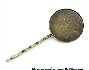 Support cabochon bronze pin 25mm round cabochon 25 mm hair Barrette hair accessory