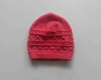 Hot pink fancy patterned Hat