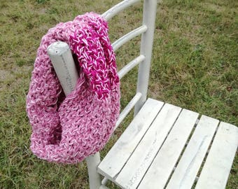 Pink and fuchsia wool-cotton-viscose hand knitted cowl infinity scarf