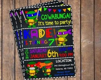 Ninja Turtle Invitation, Ninja Turtles Party, TMNT invitation, Teenage Mutant Ninja Turtle invitations, TMNT Birthday Invitation.
