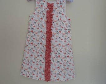 Girl's Dress.  Pink Flamingos.  Handcrafted in UK  -  Age up to 6 years