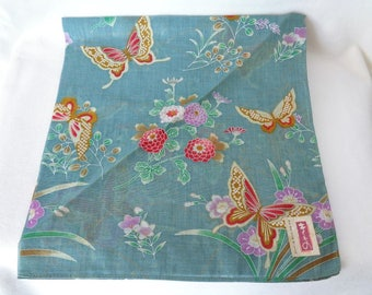 """1202:Cotton handkerchief  beautiful """"Butterflies"""" design, made in Japan from high-quality cotton"""