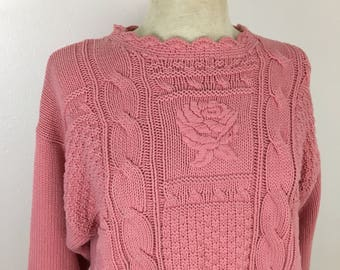 Women's Vintage Rose Sweater- small to medium- folk winter sweater