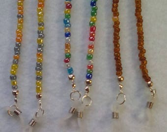 Beaded glasses chain, varied colours