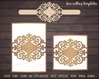 Wedding Invitation Card template for cutting with Belly Band. Cricut Cameo (SVG, DXF, eps, vector)  Instant Download.