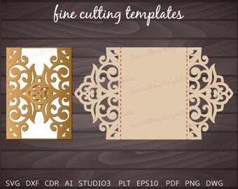 Wedding Invitation card 5x7 template for cutting, laser and die cut. Digital Instant Download. (svg, dxf, eps10, studio3)