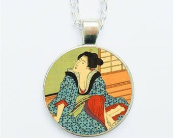 Japanese Geisha Girl Woman Pendant Necklace / Earrings / Ring / Pin Badge Asian Oriental Handmade Photo Jewellery Jewelry