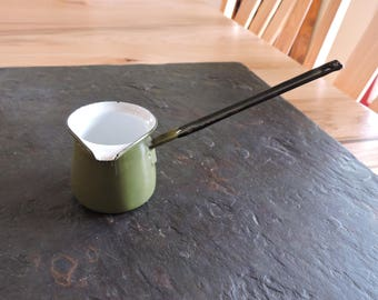 VIntage Enamelware Butter Warmer, Vintage Green Enamel Butter Warming Pot, Small Mid-Century Handled Butter Warmer