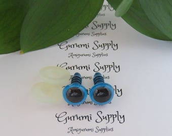 10mm Blue Iris with Black Pupil Round Safety Eyes and Washers: 8 Count/ 4 Pairs - Dolls/ Amigurumi/ Animals/ Stuffed Creations/ Craft/ Toy