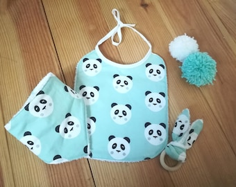 Set of bibs and teethers