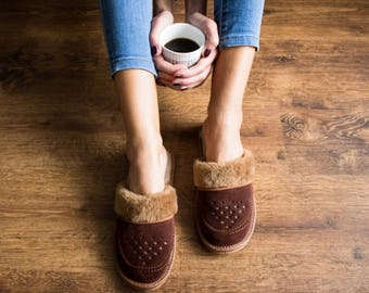 SHEEPSKIN slippers LEATHER moccasins for  women fur winter boots soled slippers socks wool woolen shoes suede leather brown handmade gift