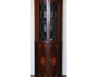 A Quality Early Victorian Inlaid Mahogany Astrical Glazed Bow Fronted Corner Cupboard