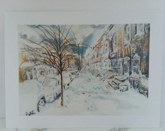 Snow with a Side of Philly Original Watercolor Print