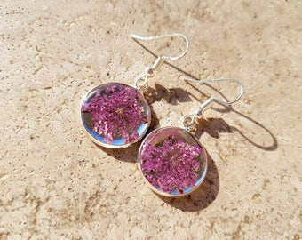 Silver plated steel earrings with flowers