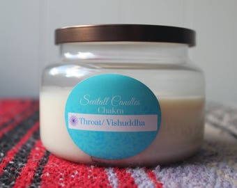 Throat Chakra with Chrysocolla crystal - Chakra Balancing - organic soy candle 8oz - handpoured aromatherapy natural candle - apothecary jar