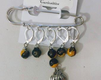 Jack-o-lantern Stitch Markers /Shawl Pin - Knit or Crochet