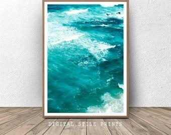 Ocean Print, Blue wall art, Wave Printable, Wave Art, Seascape, Blue Water, Ocean Photography, Sea Print, Digital Prints,  Nature print