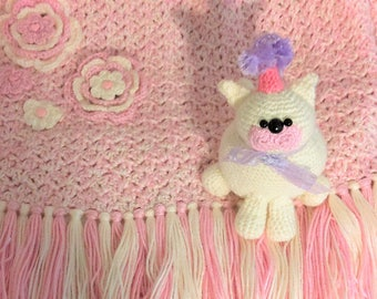 Children's Coverlet, Baby Blanket, Afghan with Flowers and Hearts