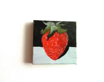 Strawberry Mini Painting | Canvas Art | Mini Art | Tiny Art | Original Art | Decor | Modern Art | Painting | Kitchen Art | Still Life Art