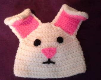 "White Bunny Hat/Crochet Bunny Hat  ""Betsy""/Crochet Animal Hats/Infant and Toddler Hats/Animal Hats for Kids/Crochet Baby Hats/READY TO SHIP"