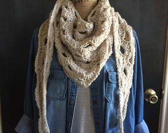 Arcade scarf//triangle scarf//adult//teen//cream/gray/red/pink/mint/painted canyon