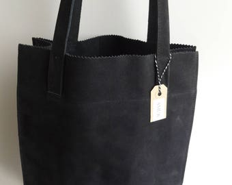 Black Nubuck leather shoulder bag.
