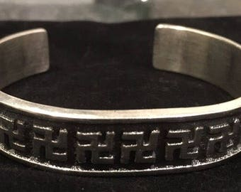 Navajo Aaron Anderson Silver Whirling Log Cuff