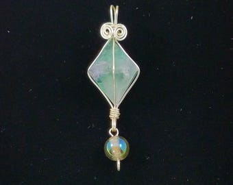 Light Green Fluorite Crystal Pendant, Silver Colored Wire Wrapped