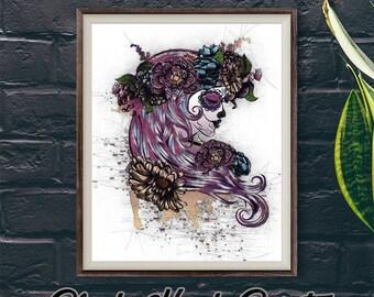 Sugar Skull Print, Candy Skull Downloadable Print, Day Of The Dead Art, Dia de Los Muertos Decor, Purple Bedroom Wall Art, All Souls Artwork