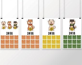 Lucky Shiba Chinese New Year 2018 Poster Calendar