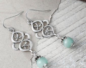 Silver plated Amazonite dangle earrings