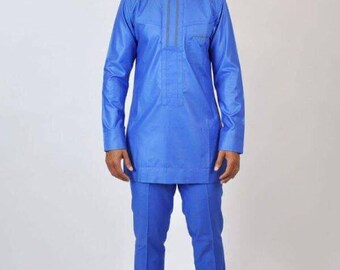 Africa long blue Shirt Design with Trousers
