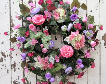 Bright and Beautiful Spring Wreath Pink Garden Rose, Dark Pink Country Rose, Lavender Rosebud, Ranunculus, Pink Cosmos, Green/Pink Hydrangea