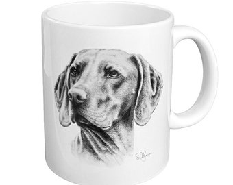 Cup of Hungarian Vizsla-white ceramic coffee mug with black print