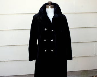 Black Faux Fur Coat - Gold Lined - 1960's style double breasted
