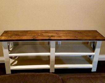 Rustic X farm console  table