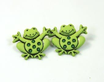 Frogs earrings, Frog studs, Green frog earrings, Frog lovers gift, frog jewelry