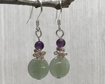 Amethyst Flower dangle Earrings, February birthstone, daisy jewelry, purple earrings, boho flower jewelry, boho flower earrings