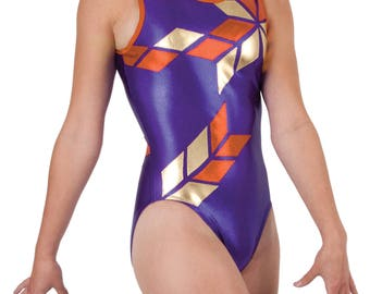 Girl's Gymnastics Tank Leotard Outfit. Solid Colors w/Red & Gold Diamond Shapes Applique