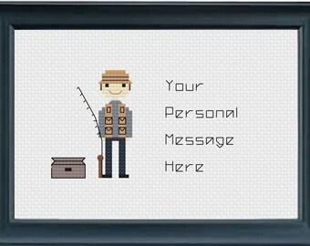 Hand Stitched Fishing Gift, Fishing Gift, Fishing Man, Fisher Gift, Custom Fishing Gift, Fisherman Gift, Fisherwoman Gift, Dad Fishing,
